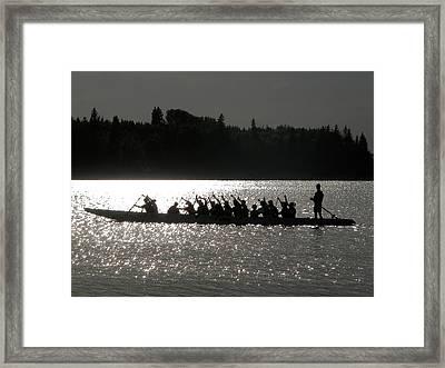 Dragon Boat Silhouette Framed Print by Stuart Turnbull