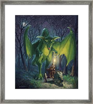 Dragon Walking With Lamp Fantasy Framed Print by Martin Davey