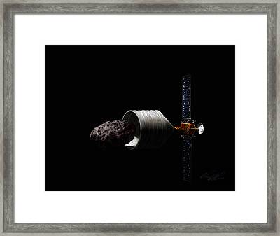 Dragonfly At The Asteroid Capture Framed Print by Chad Glass
