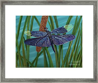 Dragonfly On A Cattail Framed Print by Rosemary Vasquez Tuthill