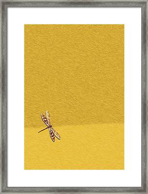 Dragonfly On Yellow Fur Framed Print by Pascal VERSAVEL