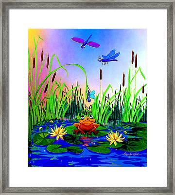 Dragonfly Pond Framed Print by Hanne Lore Koehler