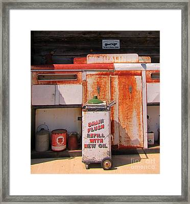 Drain Flush Refill With New Oil Framed Print by John Malone