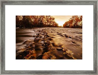 Dramatic Autumn Sunrise Along Boise River In Boise Idaho Framed Print by Vishwanath Bhat
