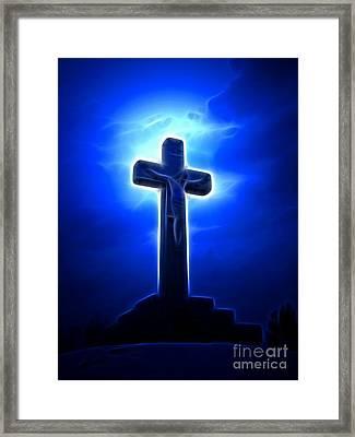 Dramatic Jesus Crucifixion Framed Print by Pamela Johnson
