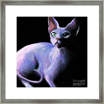 Dramatic Sphynx Cat Print Painting Framed Print by Svetlana Novikova