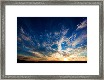 Dramatic Sunset Sky Over Tuscany Hills Framed Print by Michal Bednarek