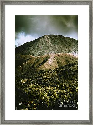 Dramatic View On Mount Zeehan Against Stormy Cloud Framed Print by Jorgo Photography - Wall Art Gallery