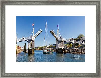 Drawbridge Perkins Cove Framed Print by Jerry Fornarotto