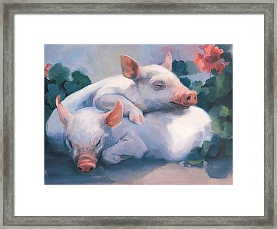 Dream Away Piglets Framed Print by Laurie Hein