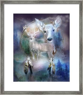 Dream Catcher - Spirit Of The White Deer Framed Print by Carol Cavalaris