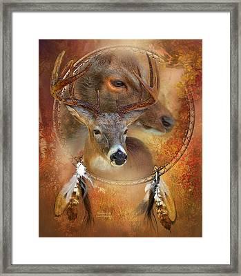 Dream Catcher - Autumn Deer Framed Print by Carol Cavalaris