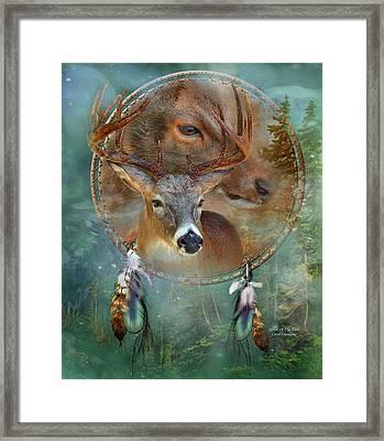 Dream Catcher - Spirit Of The Deer Framed Print by Carol Cavalaris