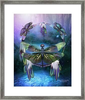 Dream Catcher - Spirit Of The Dragonfly Framed Print by Carol Cavalaris