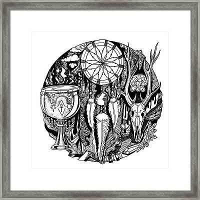 Dreamcatcher Circle Drawing No. 2 Framed Print by Kenal Louis