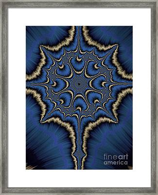 Dreamcatcher In Blue And Gold Framed Print by John Edwards