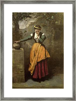 Dreamer At The Fountain Framed Print by Jean Baptiste Camille Corot