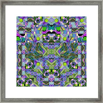 Dreaming In Green - An Altered T J O D Series Mandala Framed Print by Helena Tiainen