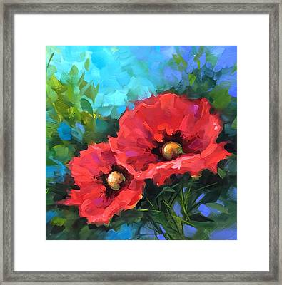 Dreams Of Flying Red Poppies Framed Print by Nancy Medina