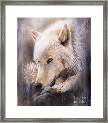 Dreamscape - Wolf Framed Print by Sandi Baker