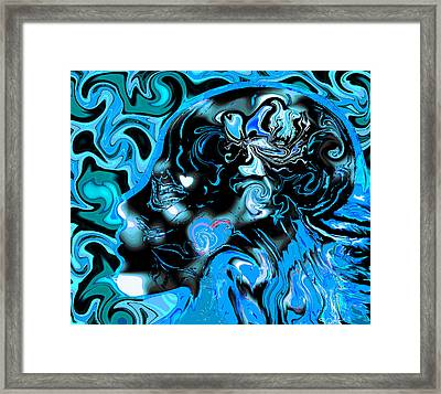 Dreamy Blue Silhouette Framed Print by Abstract Angel Artist Stephen K