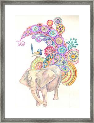 Dreamy Elephant And Bird Framed Print by Cherie Sexsmith