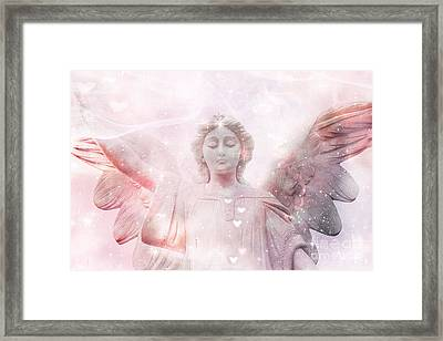 Dreamy Heavenly Angel Art - Ethereal Angel Hearts And Stars - Celestial Pink Angel Art  Framed Print by Kathy Fornal