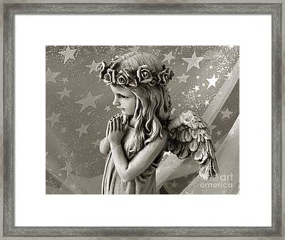 Dreamy Little Girl Angel With Praying Hands  Framed Print by Kathy Fornal