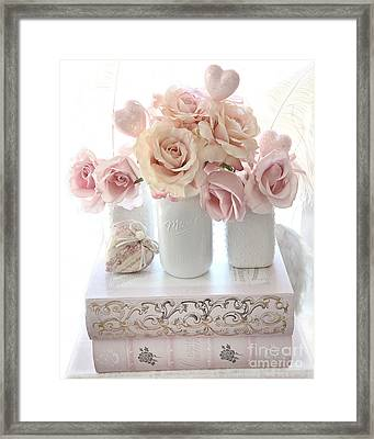 Dreamy Pastel Shabby Chic Peach And Pink White Roses - Cottage Shabby Chic Roses White Mason Jars  Framed Print by Kathy Fornal