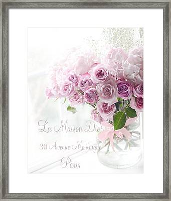 Dreamy Romantic Pink Lavender Roses In Window - Paris Romantic Roses French Decor Framed Print by Kathy Fornal