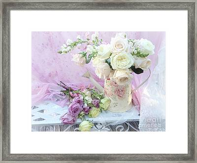 Dreamy Romantic Shabby Chic Spring Roses - Spring Romantic Bouquet Of Roses - Shabby Chic Floral Art Framed Print by Kathy Fornal