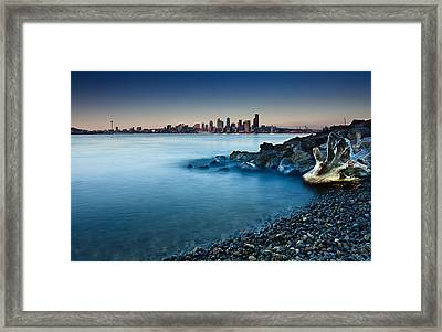 Dreamy Seattle Skyline Framed Print by Sanyam Sharma