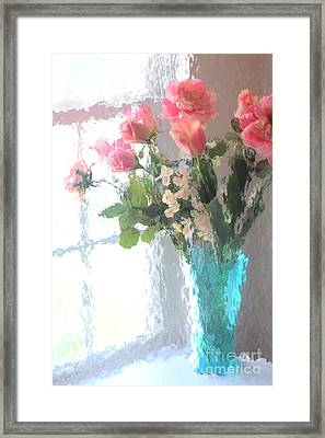 Dreamy Shabby Chic Impressionistic Coral Peach Pink Bouquet - Peach Coral Flowers In Aqua Vase Framed Print by Kathy Fornal