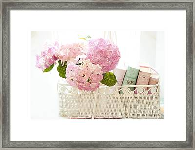 Dreamy Shabby Chic Pink Hydrangeas In Basket - Cottage Hydrangeas And Books  Framed Print by Kathy Fornal