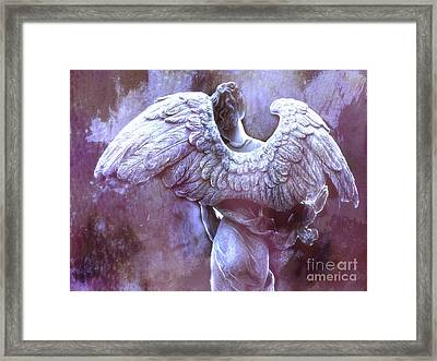Dreamy Surreal Ethereal Purple Angel Wings - Purple Angel Photography Wings Framed Print by Kathy Fornal