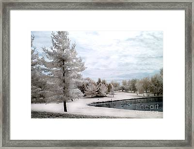 Dreamy Surreal Infrared Pond Landscape Nature Scene  Framed Print by Kathy Fornal