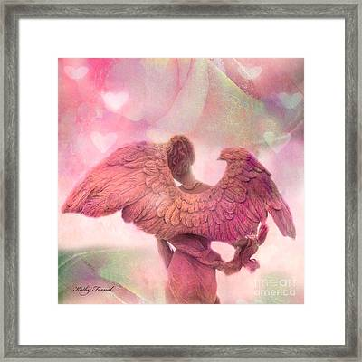 Dreamy Whimsical Pink Angel Wings With Hearts Framed Print by Kathy Fornal