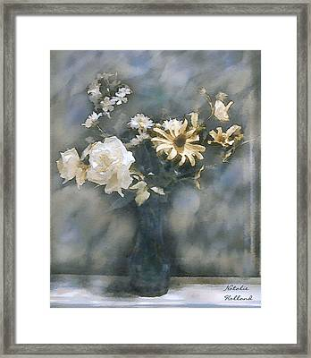 Dreamy White Roses Framed Print by Natalie Holland