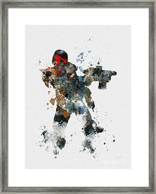 Dredd Framed Print by Rebecca Jenkins