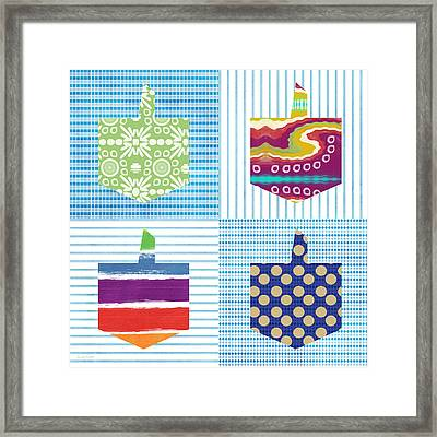 Dreidel Patchwork- Art By Linda Woods Framed Print by Linda Woods