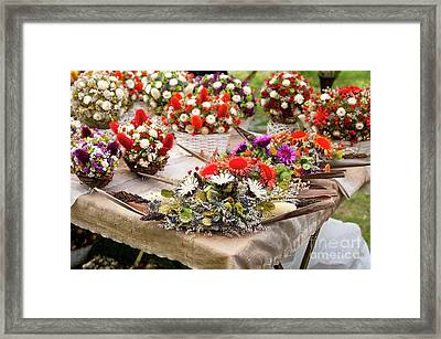 Dried Flowers Arrangements At Fair Framed Print by Arletta Cwalina