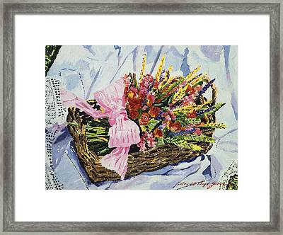 Dried Rose Basket On Lace Framed Print by David Lloyd Glover