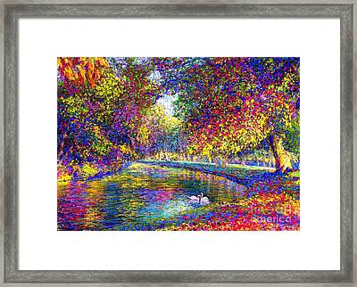 Drifting Beauties, Swans, Colorful Modern Impressionism Framed Print by Jane Small