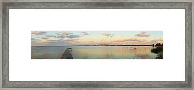 Driftwood Dock At Dusk Framed Print by Lynda Dawson-Youngclaus