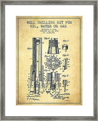 Drilling Bit For Oil Water Gas Patent From 1920 - Vintage Framed Print by Aged Pixel