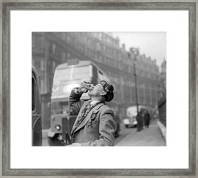 Drinking Beer Framed Print by John Drysdale