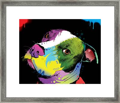 Dripful Pitbull Framed Print by Dean Russo