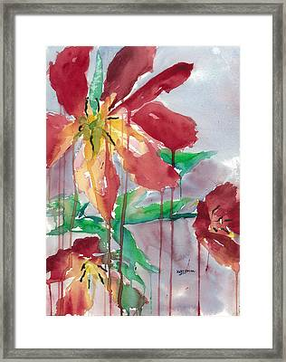 Drippy Tulips Framed Print by Mary Lomma