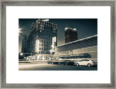 Driving Through Downtown Amarillo Texas - Sepia  Framed Print by Gregory Ballos