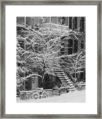 Drolet Street In Winter, Montreal Framed Print by Yves Marcoux
